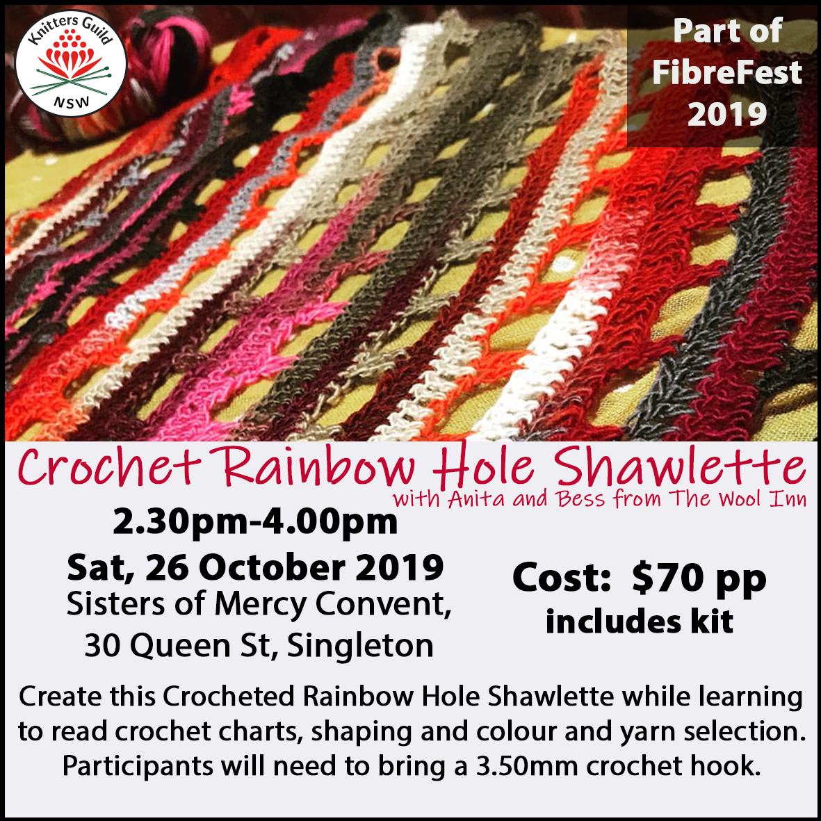 RainbowHoleShawlette workshop
