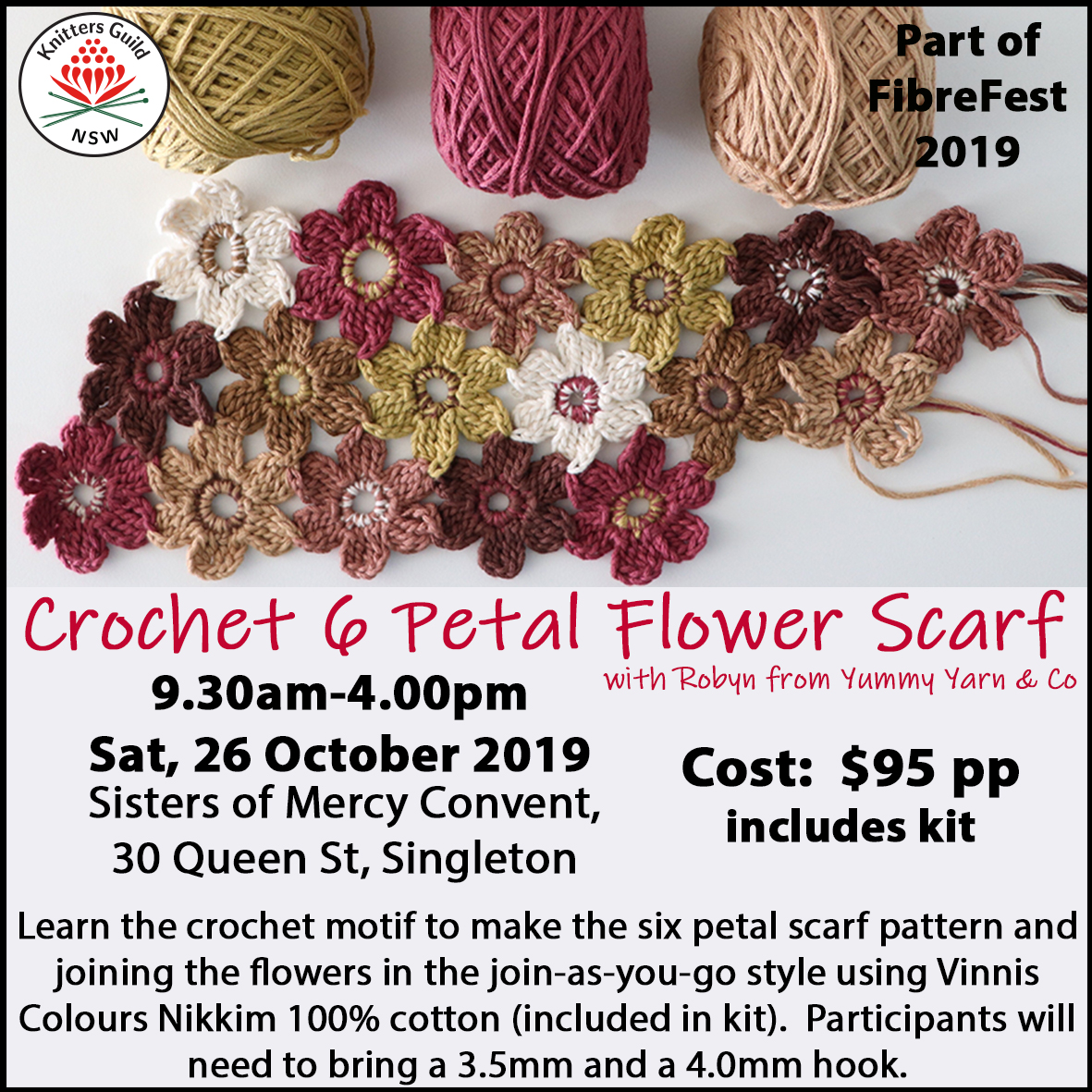 SixPetalFlowerScarf workshop