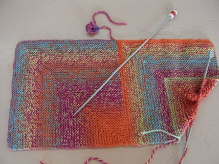Two squares knitted on the bias joined together