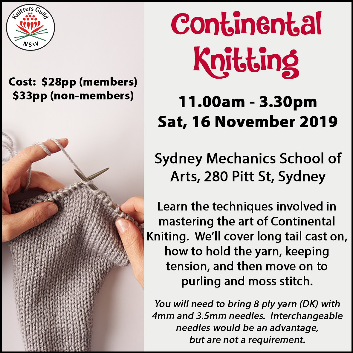 Continental knitting workshop