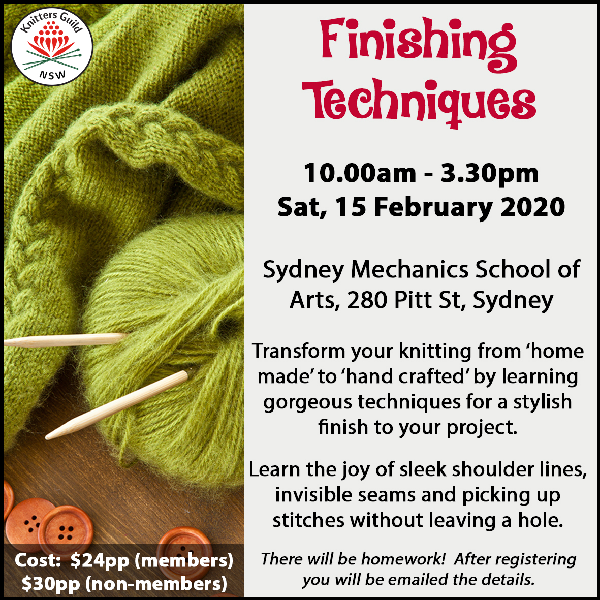 Finishing Techniques workshop Feb20
