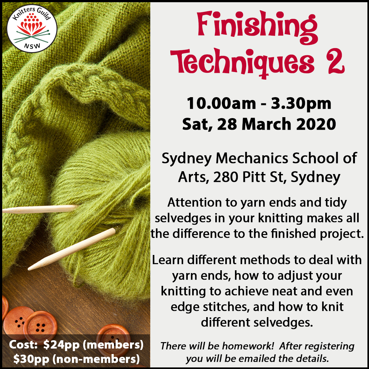 Finishing Techniques workshop Mar20